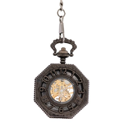 Black Octagon Pocket Watch