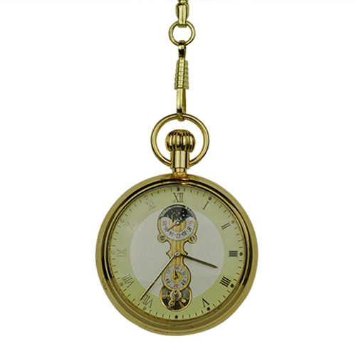 Gold Mechanical Open Dial Pocket Watch