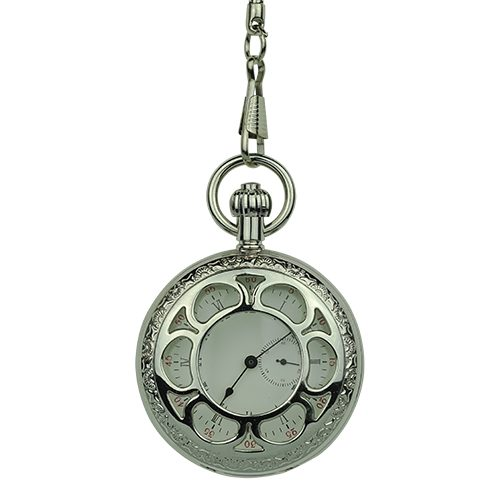 Silver Flower Hunter Pocket Watch