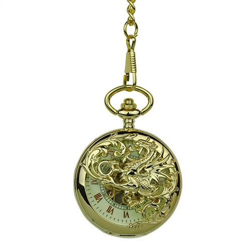 Gold Dragon Hunter Pocket Watch