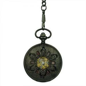 Black Snowflake Hunter Pocket Watch