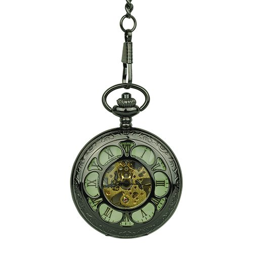 Black Flower Hunter Pocket Watch