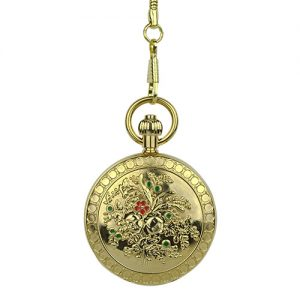 Gold Engraved Fleurs Pocket Watch