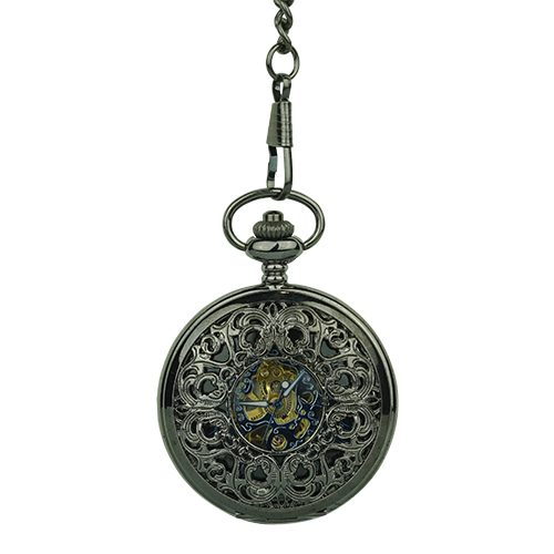 Black Victorian Flourish Hunter Fob Watch