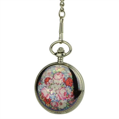 Glossy Black Rose Garden Hunter Pocket Watch