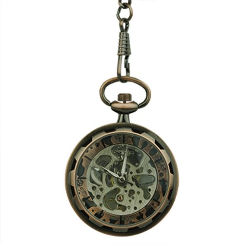 Brass Gear Open Face Pocket Watch