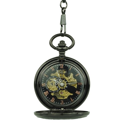 Black Greek Symbol Half Hunter Pocket Watch