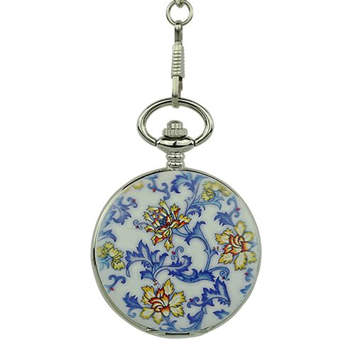 Ceramic Blue Flower Hunter Pocket Watch