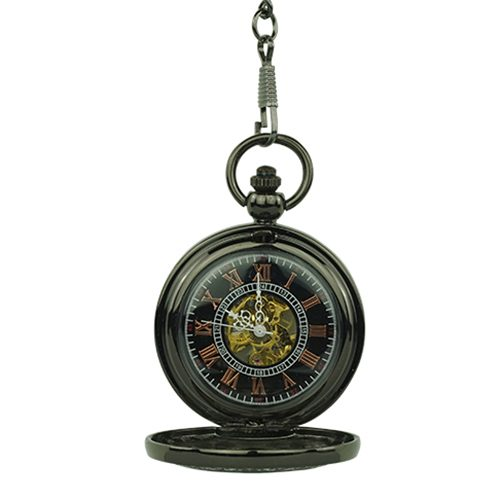 Black Vintage Tire Hunter Pocket Watch