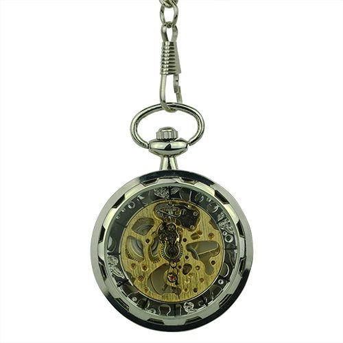 Silver Gear Open Dial Pocket Watch